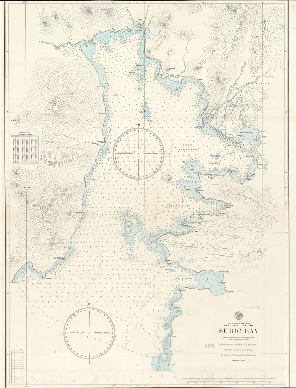 1945 U.S. Hydrographic Office Nautical Chart of Subic Bay, Luzon, Philippines
