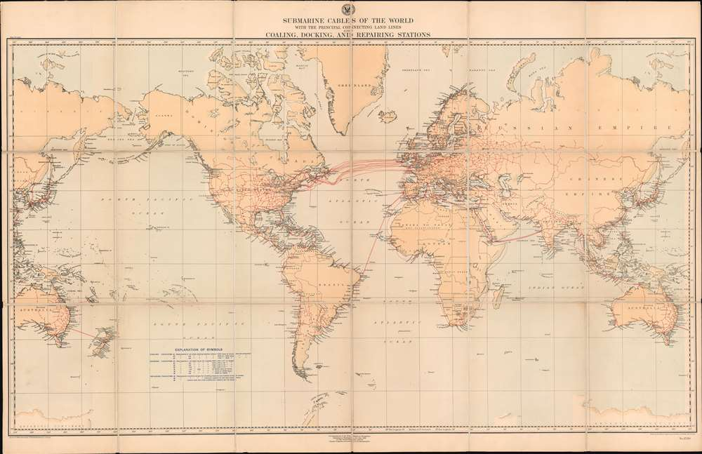 Submarine Cables of the World with the Principal Connecting Land Lines also Coaling, Docking, and Repairing Stations. - Main View