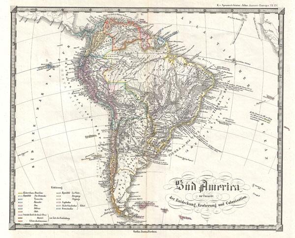 Sud America zur Ubersicht der Entdeckung, Eroberung und Colonisation.