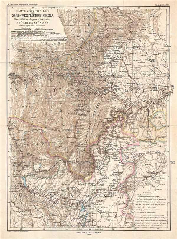 Karte Eines Theiles de Süd-Westlichen China Hauptsächlich nach neueren Forschungen in Ssu-chuen & Yün-nan