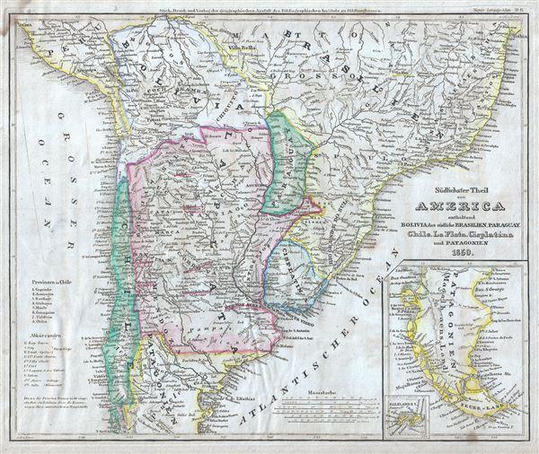 Sudlichster Theil von America enthaltend Bolivia, das sudliche Brasilien, Paraguay, Chile, La Plata, Cisplatina und Patagonien. - Main View