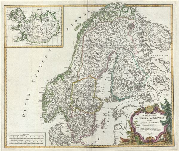 Les Royaumes de Suede et de Norwege, divises en leurs Provinces ou Gouvernemens.