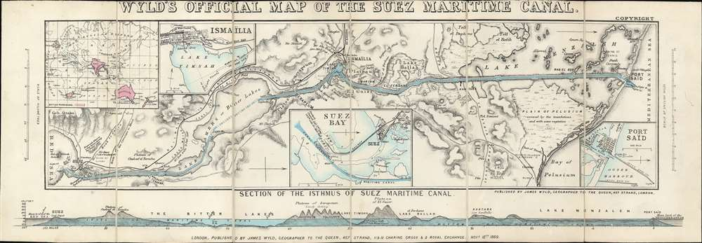 Wyld's Oficial Map of the Suez Maritime Canal. - Main View