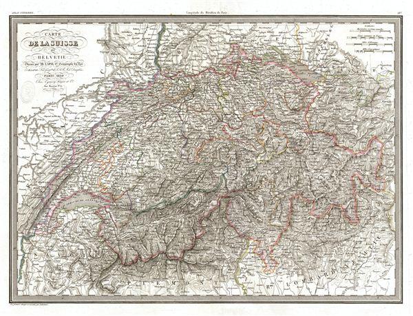 Carte de la Suisse ou Helvetie.