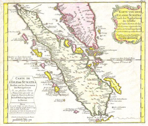 Karte von Dem Eylande Sumatra nach den Tagebuchern der Schiffer / Carte de l'Isle de Sumatra Drefsee sur les Journaux des Navigatuers.