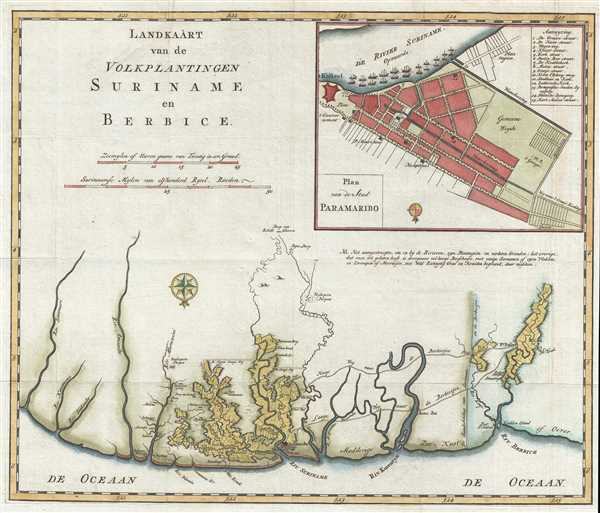 1767 Isaak Tirion Map of Suriname