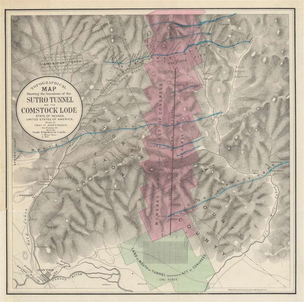 Topographical Map Showing the Locations of the Sutro Tunnel and the Comstock Lode State of Nevada, United States of America. - Main View