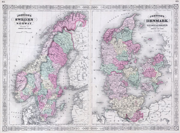 Johnson�s Sweden and Norway. / Johnson�s Denmark with Sleswick & Holstein.