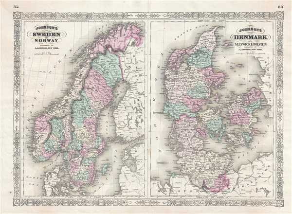 Johnson's Sweden and Norway. / Johnson's Denmark with Sleswick and Holstein.