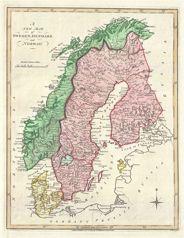 A New Map Of Sweden Denmark And Norway Geographicus Rare - Sweden new map