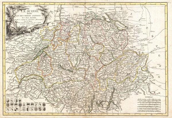 La Suisse divisee en ses Treize Cantons et ses Allies. - Main View