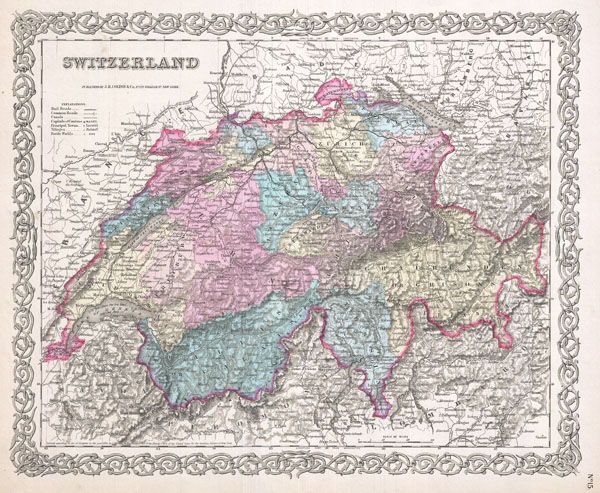 1855 Colton Map of Switzerland