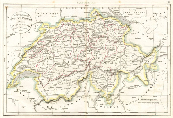 Republique Helvetique Divisee en ses 22 cantons.