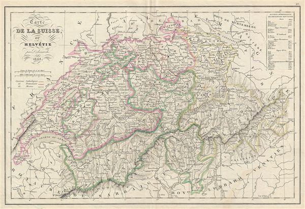 Carte de la Suisse, ou Helvetie.