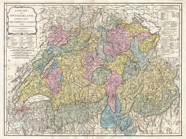 A New Map of Switzerland Divided into the Thirteen Cantons with their Allies and their Subjects.