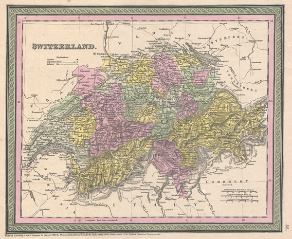 1853 Mitchell Map of Switzerland