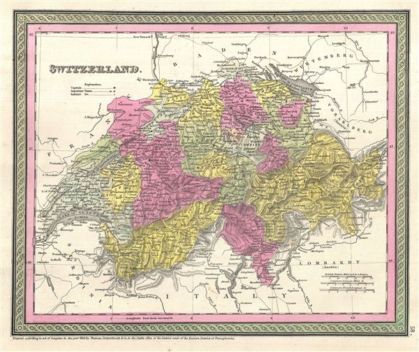 1854 Mitchell Map of Switzerland