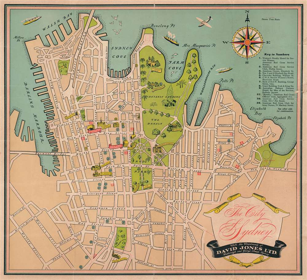 1944 David Jones City Plan or Map of Sydney, Australia during World War II