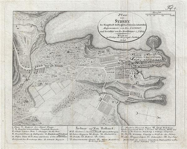 Plan von Sydney der Hauptstadt der Englischen Colonien in Australien. Aufgenommen von Hrn. Lesueur; und berichtigt von Hrn Boullanger i. J. 1802