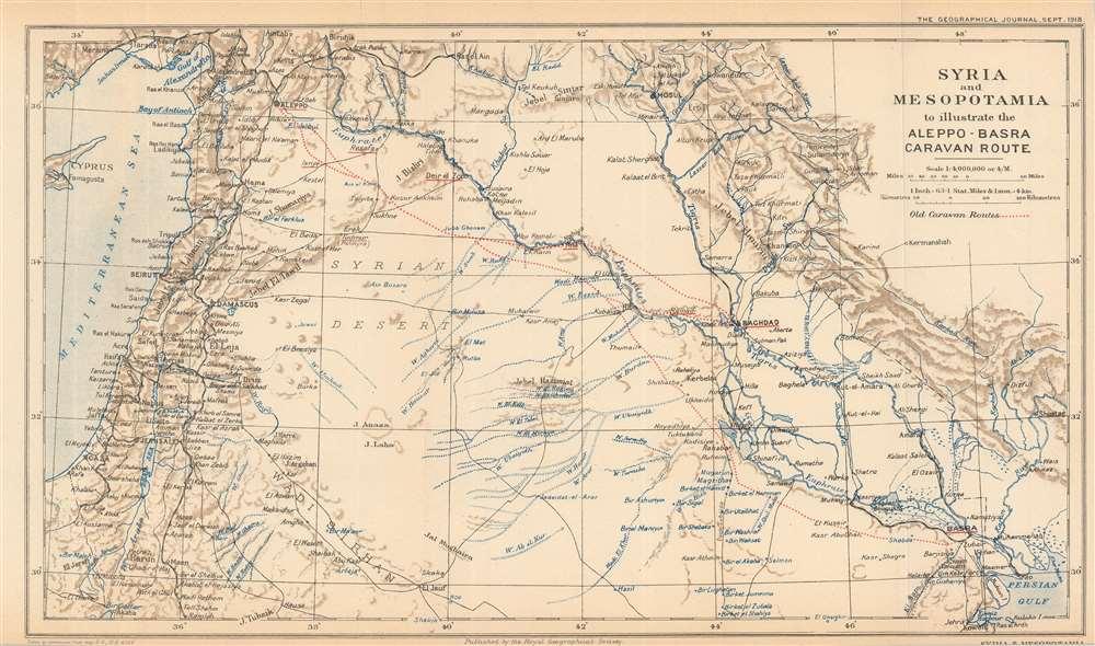 Syria and Mesopotamia to illustrate the Aleppo-Basra Caravan Route. - Main View