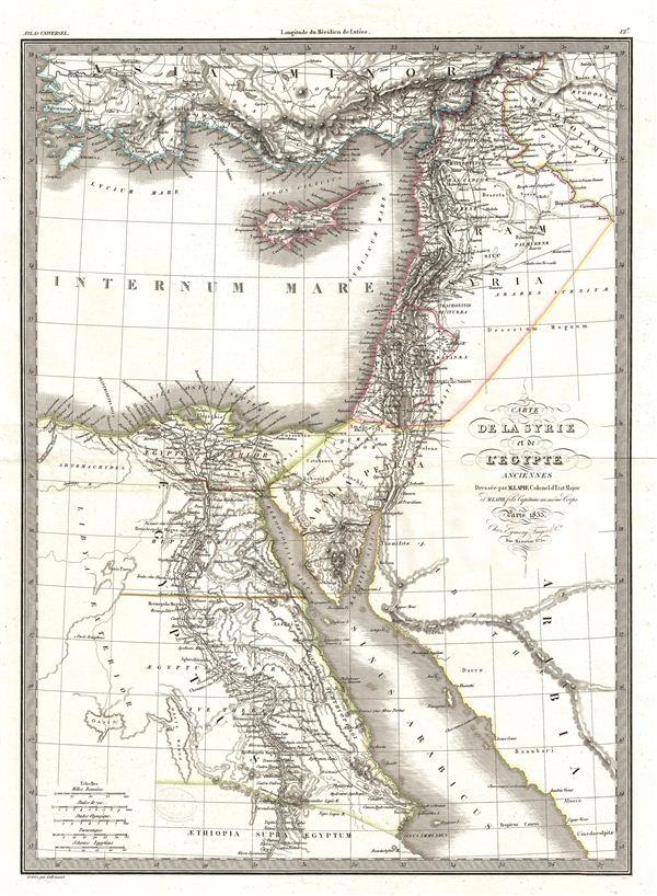Carte de la Syrie et de l'Egypte.