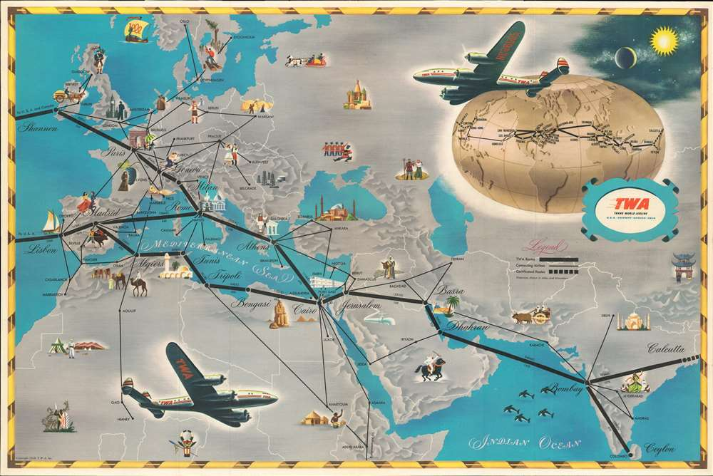 T.W.A. Air Routes. - Alternate View 1