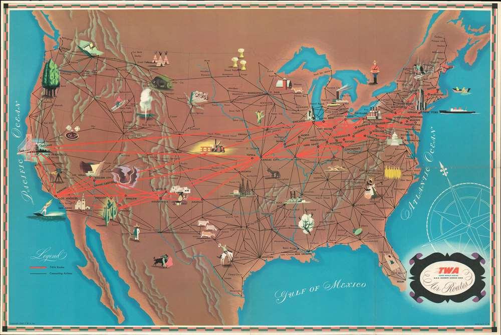 T.W.A. Air Routes. - Alternate View 2