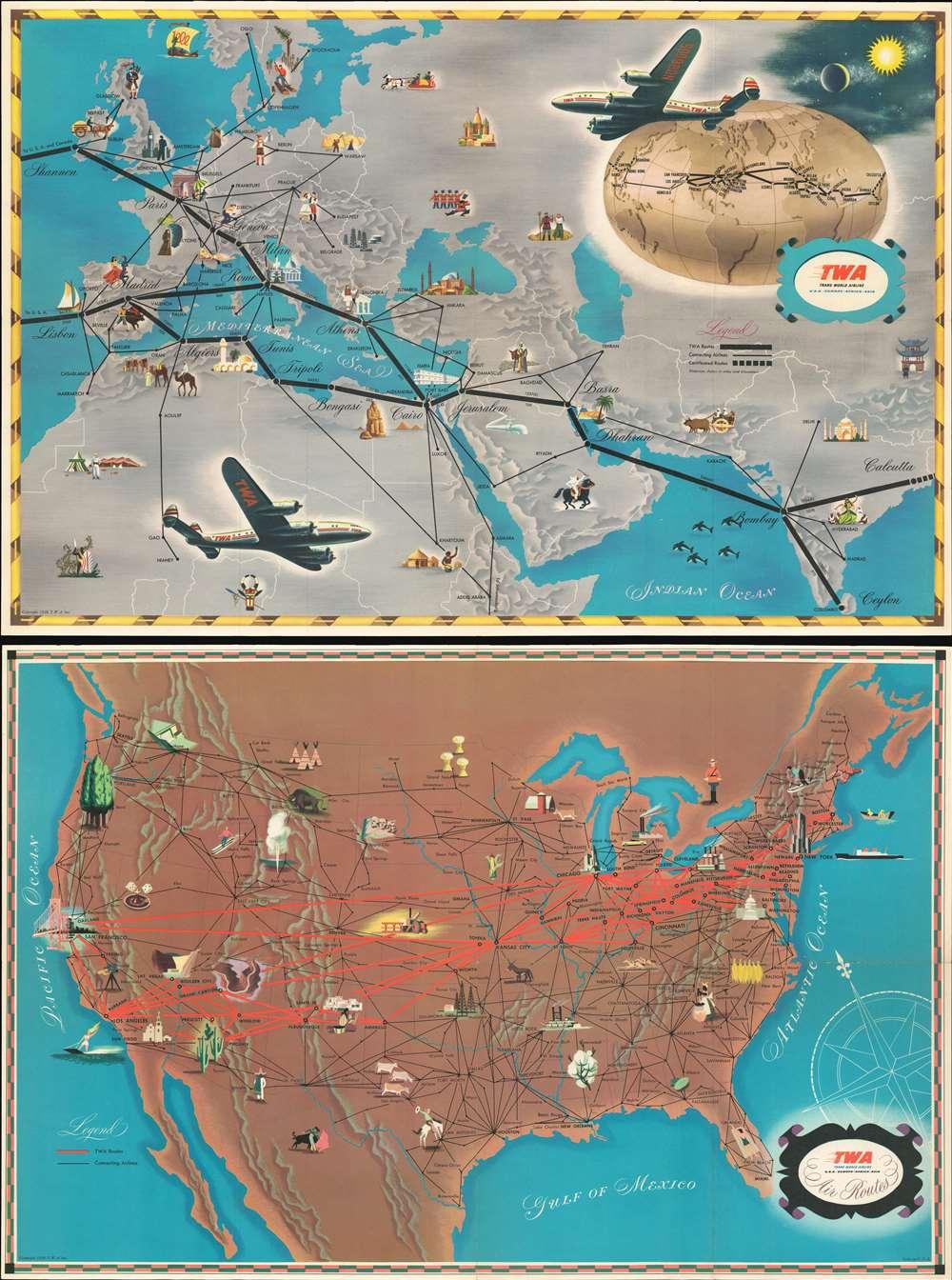 T.W.A. Air Routes. - Main View