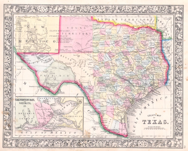County Map of Texas.