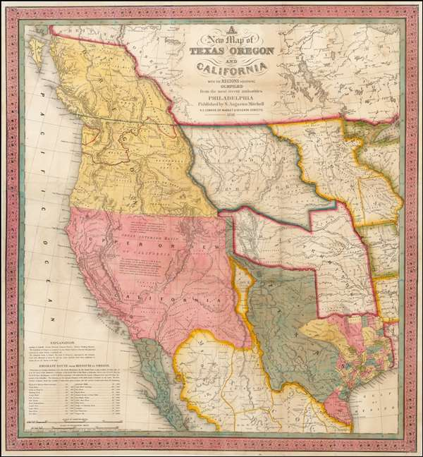 A New Map of Texas, Oregon and California with the Regions Adjoining.