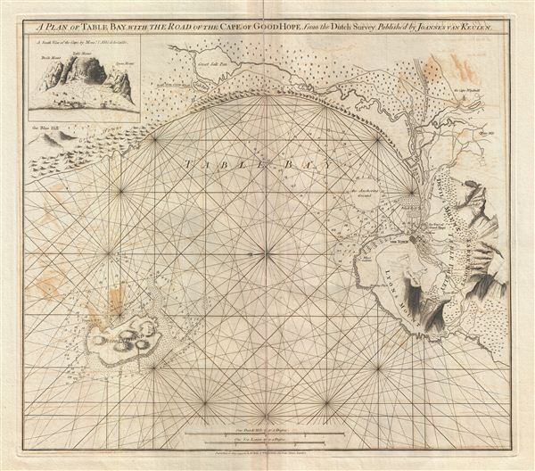 A Plan of Table Bay with the Road of th Cape of Good Hope, from the Dutch Survey Published by Joannes Van Keulen.