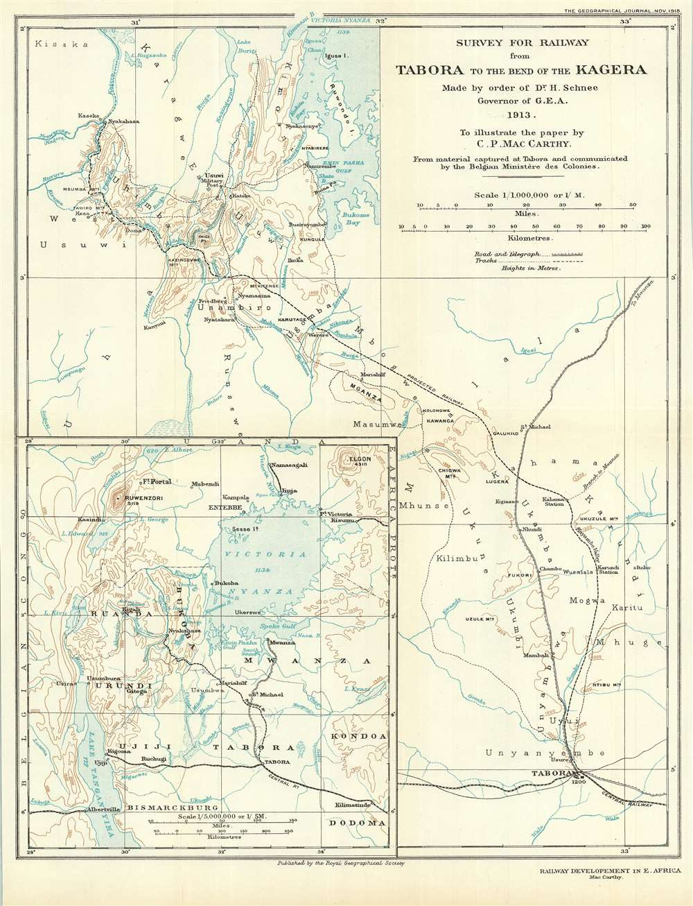 Survey for Railway from Tabora to the Bend of the Kagera. Made by Order of Dr. H. Schnee Governor of G.E.A. 1913. To Illustrate the paper by C. P. MacCarthy. - Main View