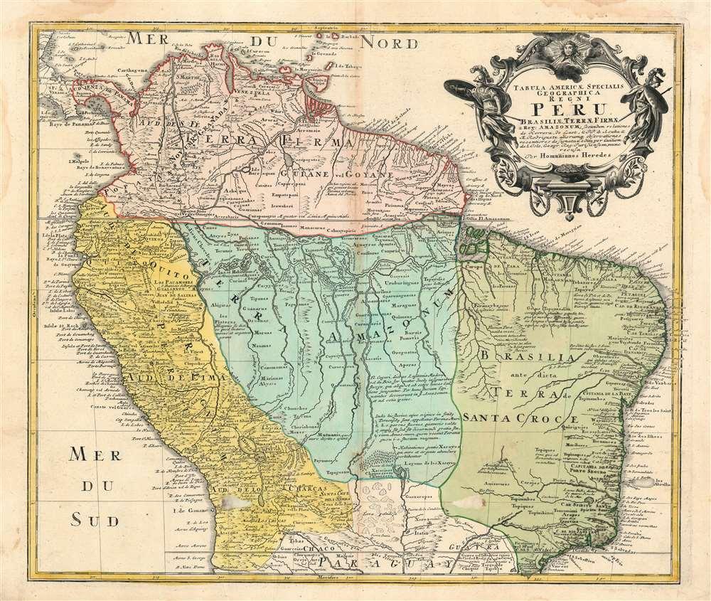 Tabula Americae Specialis Geographica Regni Peru Brasiliae, Terrae Firmae, and Reg:Amazonum.