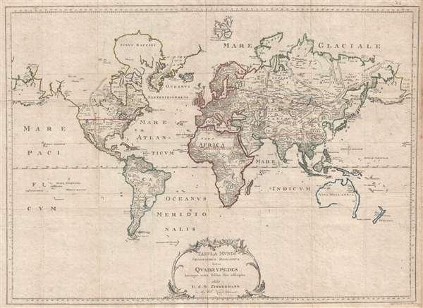 Tabula Mundi Geographico Zoologica Sistens Quadrupedes Hucusque