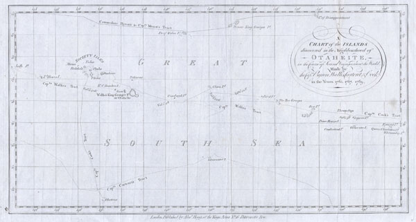 A Chart of the Islands discovered in the Neighbourhood of Otaheite, in the Course of Several Voyages round the World Made by the Capts. Byron, Wallis, Carteret, & Cook. - Main View