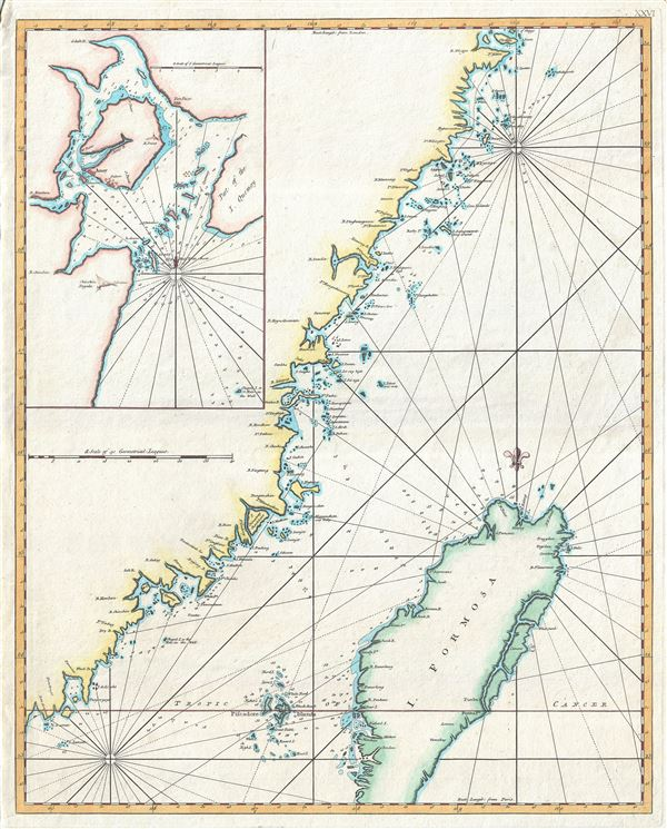 Carte de la coste orientale de la Chine depuis Amoy, jusqu'a Chusan avec une partie de l'Isle Formose. [untitled]