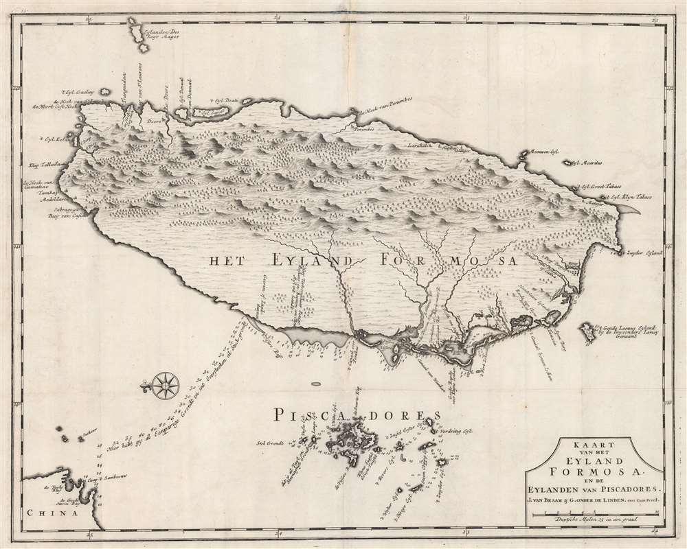 Kaart van het Eyland Formosa en de Eylanden van Piscadores.