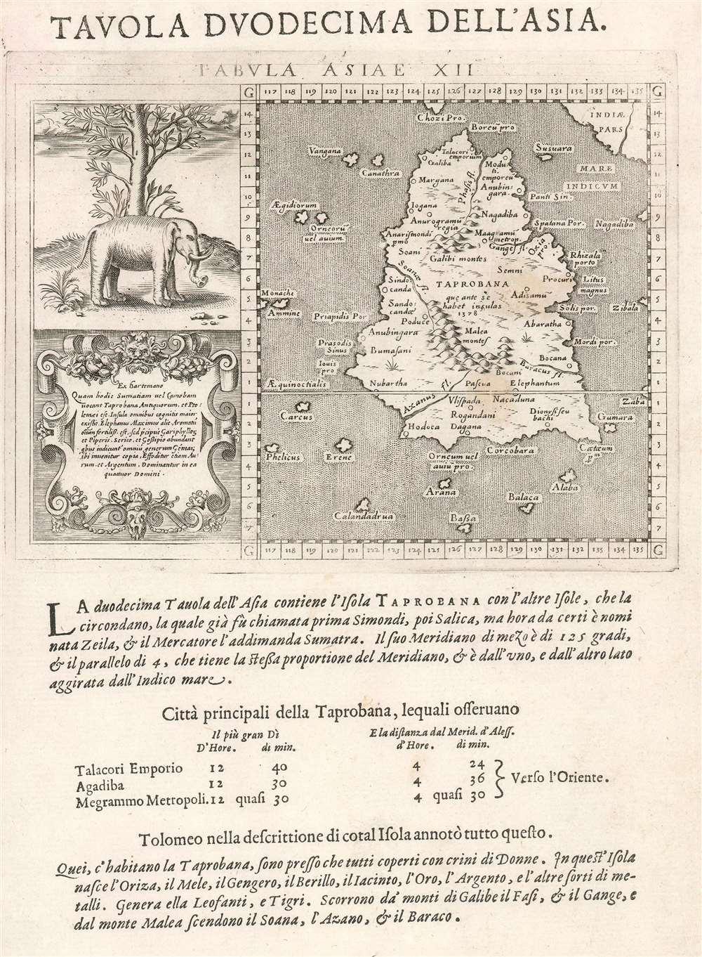 1598 Magini Map of Sumatra/ Sri Lanka according to Ptolemy