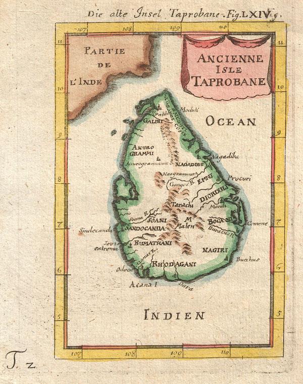 Ancienne Isle Taprobane. Die alte Insel Tabrobane.