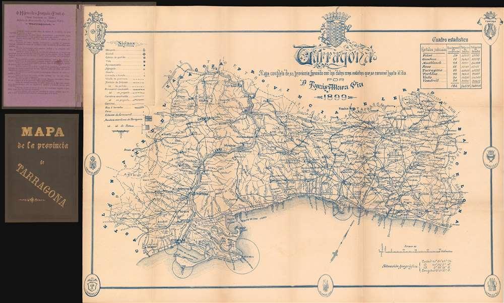 Tarragona. Mapa completo de su provincia formado con los datos mas exactos que se conocer hasta el dia. - Main View