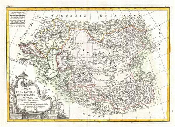 Carte de la Tartarie Independante qui comprend le Pays de Calmuks, celui des Usbeks, et le Turkestan avec leurs dependances.