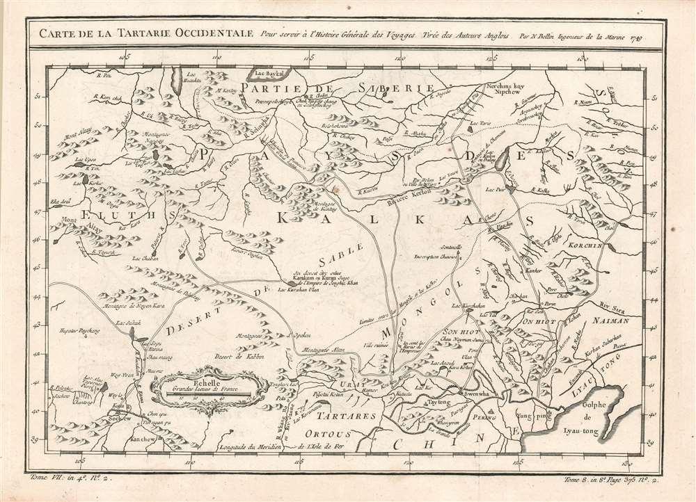 Carte de la Tartarie Occidentale, Pour servir à l'Histoire Générale des Voyages Tirée des Auteurs Anglois. Par N. Bellin Ingenieur de la Marine 1749. - Main View