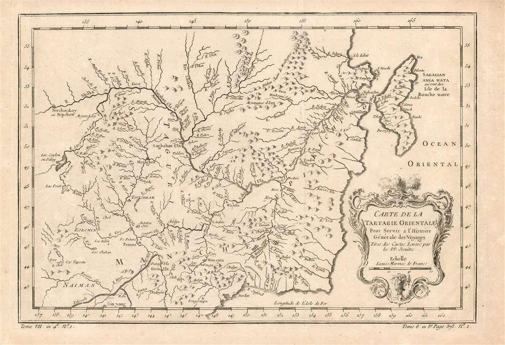 Carte de la Tartarie Orientale Pour Servir a l'Histoire Générale des Voyages Tirée des Cartes Levees par les P.P. Jesuites. - Main View