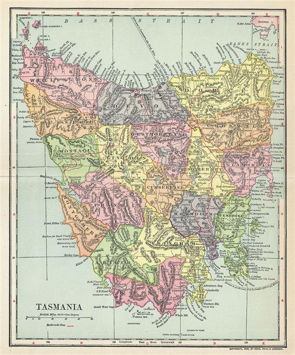 Tasmania Geographicus Rare Antique Maps - Antique maps for sale australia