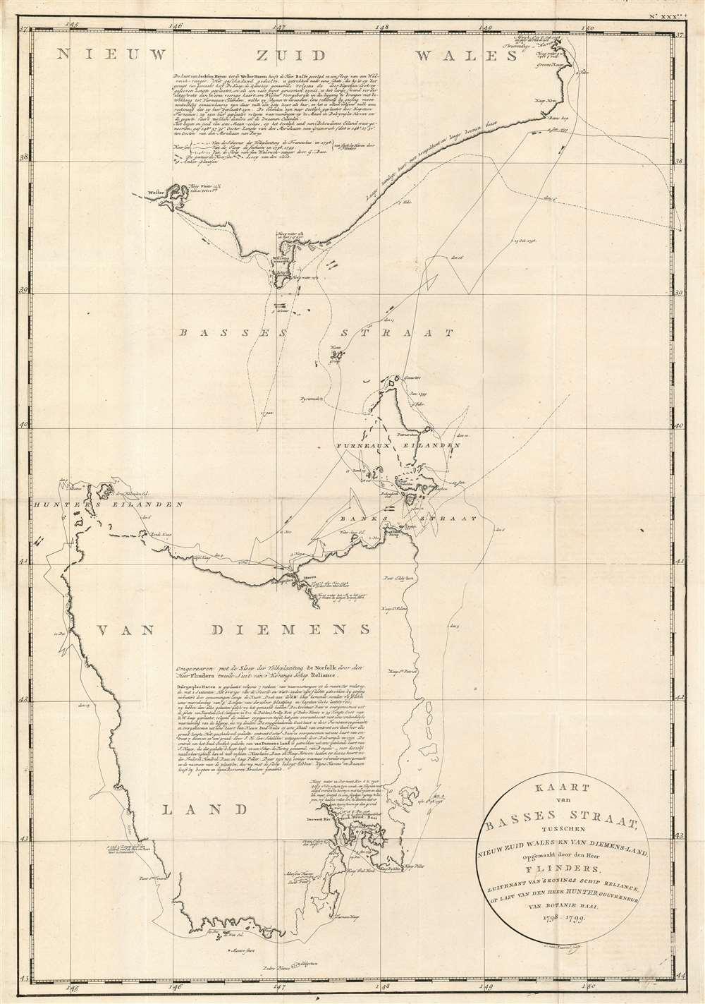 Kaart van Basses Straat Tusschen Nieuw Zuid Wales en Van Diemens-Land.
