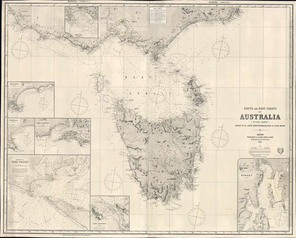 South and East Coasts of Australia [In Five Charts] Chart No. 2, Cape Northumberland to Cape Howe. - Main View