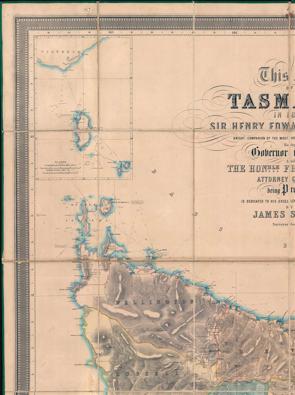 This Map of Tasmania in 1859, Sir Henry Edward Fox Young Knight Companion of the Most Honorable Order of the Bath Being Governor in Chief, and teh Honble. Francis Smigh Attorney General being Premier is dedicated to his Excellency and the Parliament by James Sprent, Surveyor General. - Alternate View 2