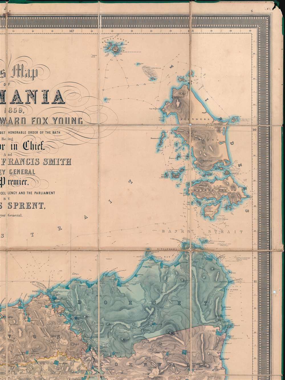 This Map of Tasmania in 1859, Sir Henry Edward Fox Young Knight Companion of the Most Honorable Order of the Bath Being Governor in Chief, and teh Honble. Francis Smigh Attorney General being Premier is dedicated to his Excellency and the Parliament by James Sprent, Surveyor General. - Alternate View 3