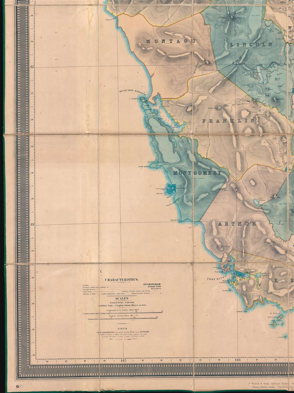 This Map of Tasmania in 1859, Sir Henry Edward Fox Young Knight Companion of the Most Honorable Order of the Bath Being Governor in Chief, and teh Honble. Francis Smigh Attorney General being Premier is dedicated to his Excellency and the Parliament by James Sprent, Surveyor General. - Alternate View 4