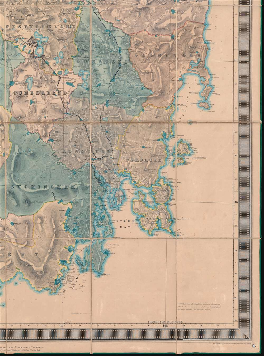 This Map of Tasmania in 1859, Sir Henry Edward Fox Young Knight Companion of the Most Honorable Order of the Bath Being Governor in Chief, and teh Honble. Francis Smigh Attorney General being Premier is dedicated to his Excellency and the Parliament by James Sprent, Surveyor General. - Alternate View 5